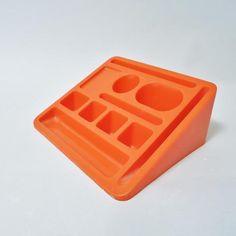 Desk organiser 1970 orange plastic  Utopie du tout plastique