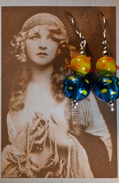 Funky glass and sterling earrings by Foresthollow on Etsy, $38.00