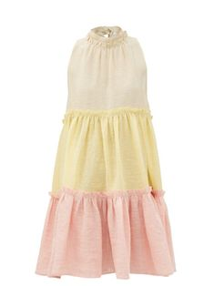 $625.0. LISA MARIE FERNANDEZ Dress Erica Tiered Linen-Blend Dress #lisamariefernandez #dress #linen #clothing Beach Wear Dresses, Summer Dresses, Swept Back Hair, Dresser, Yellow Midi Dress, Lisa Marie Fernandez, Metallic Sandals, Tiered Dress