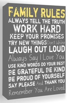 Family Rules Grey Canvas Wall Art