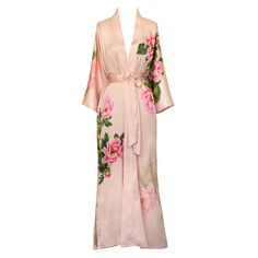 Old Shanghai Women's Print Kimono Long Robe - Floral, peony Plus Size Maxi Dresses, Short Sleeve Dresses, Prep Outfits, Casual Outfits, Very Short Dress, Lace Silk, Queen, Kimono Fashion, Women Lingerie