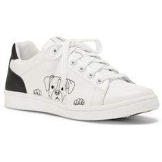 Ed Ellen Degeneres Chap Dog Print Leather Sneakers (567835 PYG) ❤ liked on Polyvore featuring shoes, sneakers, white dog, lightweight sneakers, white sneakers, cushioned shoes, leather upper shoes and dog shoes