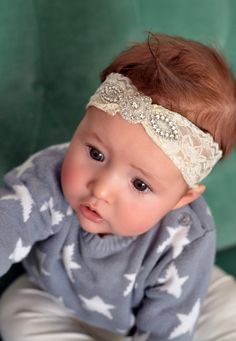 Everett- 1920s vintage lace, sparkly baby headpiece, great gatsby baby, flapper hairpiece on Etsy, $29.50