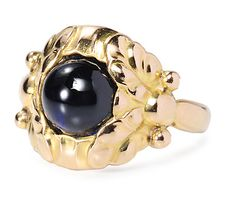 Georg Jensen. Design no. 111 B. Ring. Gold and sapphire, c. 1920. Very similar to design no.11 and its variants.