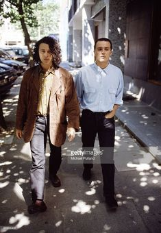 English pop rock group Tears for Fears in London, 1989. Roland Orzabal (left) and Curt Smith.