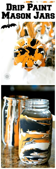 Drip Paint Mason Jars Fall and Halloween Mason Jar DIY - get the step by step tutorial here with milk paint Mason Jar Art, Mason Jar Gifts, Halloween Mason Jars, Halloween Diy, Halloween 2020, Halloween Stuff, Drip Painting, Ball Jars, Painted Mason Jars