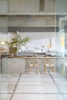 Modern Minimal Coffee House in South Korea Brings Outdoors Inside – Interiors Cafe Interior Design, Cafe Design, Home Interior, Kitchen Interior, Interior Architecture, Kitchen Design, Cafe Interior Vintage, Interior Plants, Interior Modern