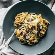 """Creamy Garlic Herb Mushroom Spaghetti"" recipe from vegetarianrecipes247.com"