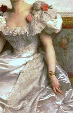 Madame la Comtesse de Cambaceres, by William-Adolphe Bouguereau, 1895 (detail) William Adolphe Bouguereau, Madame, Marie Antoinette, Wedding Gowns, Feminine, Fancy, Detail, Elegant, Pretty