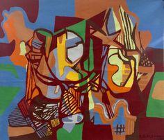ROBERTO BURLE MARX - extraordinária tapeçaria do renomado artista , com maravilhosa policromia, data