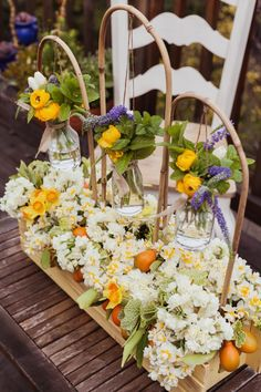 Outdoor Party Centerpiece with Hanging Jars DIY   Naked Bouquet