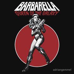 Barbarella - Queen of the Galaxy Jane Fonda, film, movie, science fiction, cinema, cult classic, roger vadim, space, 1968, stripperella, trash, klute, future, laser, sexy, spacesuit, spaceship, psychedelic, sci fi, fantasy, 60s, icon, universe, fashion, retro T-Shirt Design