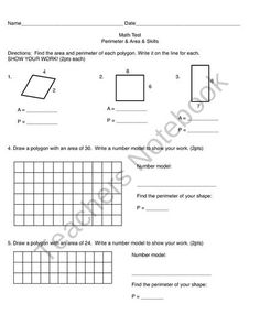 Area & Perimeter Assessment from Worker Bees on TeachersNotebook.com (2 pages)