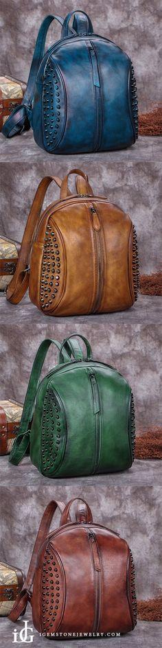 0b255dec54 Handmade Genuine Leather Vintage Backpacks Handbag School bags Purses for  Women - Brown