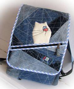 jean backpack denim backpackreused denim recycled от klaptykart