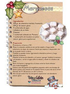 La pasta marquesa es un dulce típico de la repostería navideña de España . Suorigen, tal y como la conocemos en la actualidad, se si... Mexican Sweet Breads, Cookie Factory, Cookie Recipes, Dessert Recipes, Happy Birthday Wishes Cards, Cupcakes, Recipe For 4, Food Illustrations, Kitchen Recipes