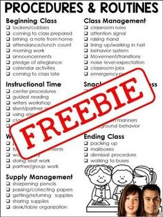 FREE Procedures and Routines Checklist - great for new teachers!