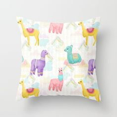 Alpacas, Vicuñas and Llamas, Oh My Throw Pillow by Noonday Design. Worldwide shipping available at Society6.com. Just one of millions of high quality products available.