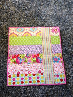 Modern Quilt for Baby Girl or simple design for mug rug. Love the bright colors.