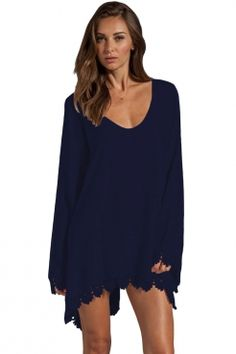 Royal Blue Lace Trim Long Sleeve Casual Mini Dress