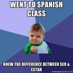 En martes y jueves, yo sisto a la clase de español a las diez y cincuenta. La clase es prendida y divertida
