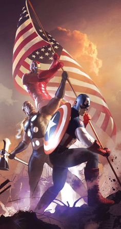 Captain America and Ultimates by Michael Komarck
