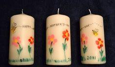 Manualidades de niños para el dia de la madre: decorar velas