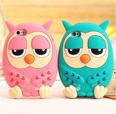 3D Cute Cartoon Pink Owl Soft Silicone Case cover for Apple iphone5s 5g 4S 4G