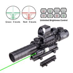 """Pinty 4 in 1 Scope Combo 3-9x32EG Tactical Rangefinder Illuminated Rifle Scope + 4 Reticle Red&Green Reflex Sight + Green Dot Laser Sight + 1"""" Compact High Riser"""