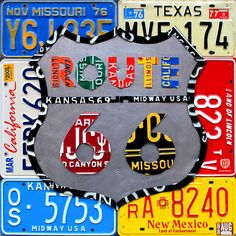 Route 66 Highway Road Sign License Plate Art Mixed Media  - Route 66 Highway Road Sign License Plate Art Fine Art Print
