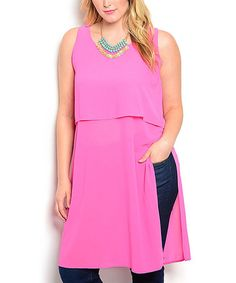Another great find on #zulily! Pink Tiered Sleeveless Tunic - Plus #zulilyfinds