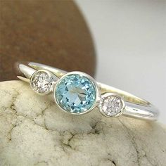 Topaz and White Sapphire 3 Stone Sterling Silver 925 Ring - made to order in your ring size on Etsy, $71.00
