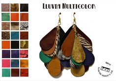 Multicolor rain earrings. 100% leather!