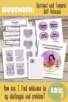 November: Spiritual and Temporal Self-Reliance - November Young Women Lesson Packets Family Home Evening, Home And Family, Lds Sunday School, Willis Family, Brick Store, Young Women Lessons, Relief Society Activities, Self Reliance, Lds Church