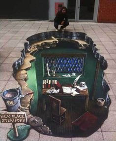 3D street art of 'Shakespeare's Study' for Stratford-Upon-Avon Tourism - 3D Joe and Max3D Joe and Max