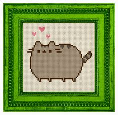 Pusheen Internet cat digital art cross stitch Pattern Kawaii japan gray kitten with pink hearts DIY cross-stitch 4 x 4 inches par MooseTreeStitches sur Etsy https://www.etsy.com/fr/listing/294867623/pusheen-internet-cat-digital-art-cross