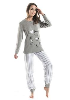 NSN Women's Fantasy Cuffed Pants Pajama Set, Gray/Stripe, Small -- Awesome products selected by Anna Churchill