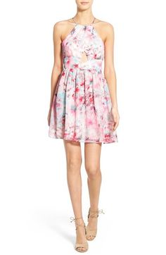 Trixxi Floral Print High Neck Skater Dress available at #Nordstrom