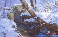 "Thomas William Foerster, ""Mockingbird Valley Rd/Creek/Snow"""