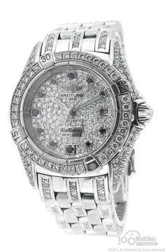 Breitling Callistino 18k White Gold Diamond  Sapphire Watch $18,995