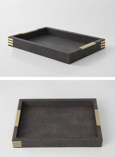 Our elegant desk try is an ideal solution to keeping ones desk / dressing table tidy. Hand made with designer seal brown shagreen & brass. A perfect present / gift. - See more at: http://www.forwooddesign.com/gifts/holmes-desk-tray-seal-brown-brass#sthash.WhVgGY8C.dpuf