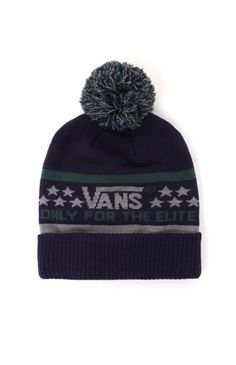 """A PacSun.com Online Exclusive!Vans creates a crisp men's beanie found at PacSun. TheElite Beanie for men has a navy base, two tone Vans knit, and matching pom on top.Multi color knit beanieVans logo on front8"""" opening10"""" heightMachine washable95% acrylic, 4% nylon, 1% elastaneImported"""