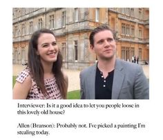 Downton Abbey interview with Allen Leech and Jessica Brown-Findlay.