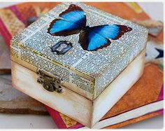 Decoupage ring box: personalized distressed ring box, butterfly steampunk printing, ring bearer, proposal custom box