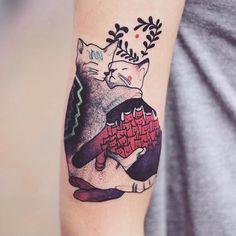 pinterest || ☽ @kellylovesosa ☾Colorful Tattoo Animal Tattoos Watercolor Tattoos Illustrative Tattoos Joanna Swirska