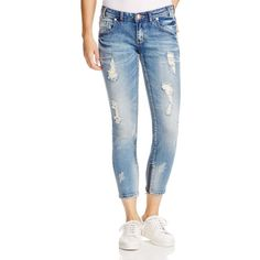 One Teaspoon Freebirds Distressed Cropped Skinny Jeans in Blue Blonde ($168) ❤ liked on Polyvore featuring jeans, blue blonde, distressing jeans, cropped jeans, one teaspoon jeans, destroyed jeans and blue jeans