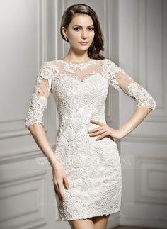 Vestido tubo Escote redondo Corto/Mini Encaje Vestido de novia (002057296)