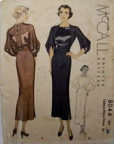 McCall 8044 | 1934 Evening Dress early 30s dinner dress afternoon brown black satin long skirt sheer sleeves button back vintage fashion style color illustration sewing pattern