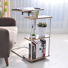 Amazon.com : Soges Lap Table Portable Laptop Computer Stand Adjustable Overbed Table Notebook Stand Side Table, Oak Color 102-G : Office Products