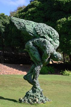 """Sculpture """"Untamed"""" by Dylan Lewis on display at Kirstenbosch Botanical Gardens, Cape Town, South Africa."""
